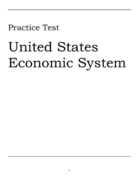 Practice Test United States Economic System Worksheet For