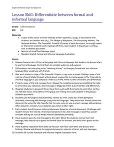 Differentiate between Formal and Informal Language Lesson Plan