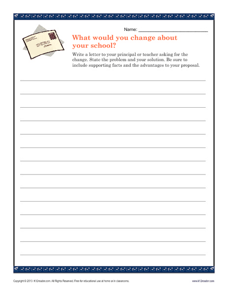 What Would You Change About Your School? Writing Prompt