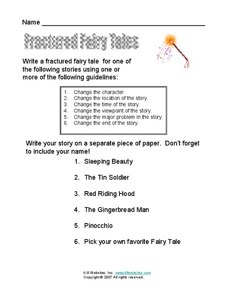 fractured fairy tales worksheet for 2nd 4th grade lesson planet. Black Bedroom Furniture Sets. Home Design Ideas