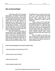 War and Neutral Rights Worksheet