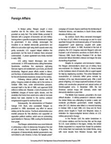 Foreign Affairs Worksheet