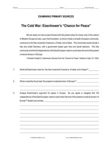 "The Cold War: Eisenhower's ""Chance for Peace"" Worksheet"