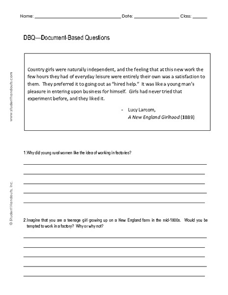 DBQ - Document-Based Questions Worksheet
