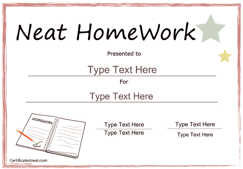 Certificate for Neat Homework Printables & Template