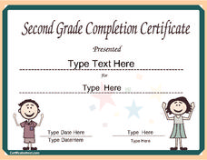 Certificate for Second Grade Completion Printables & Template