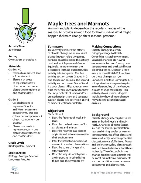Maple Trees and Marmots Activities & Project