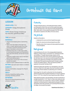 Greenhouse Gas Game Lesson Plan