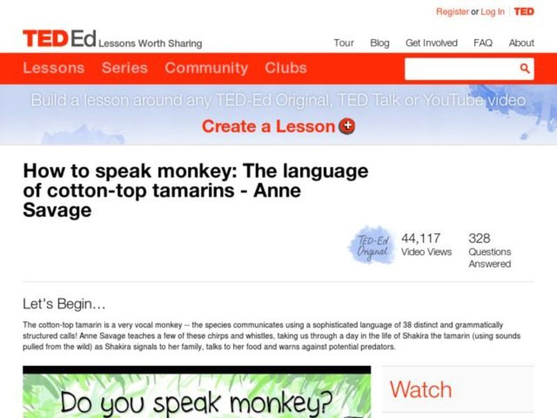 How to Speak Monkey: The Language of Cotton-Top Tamarins Lesson Plan