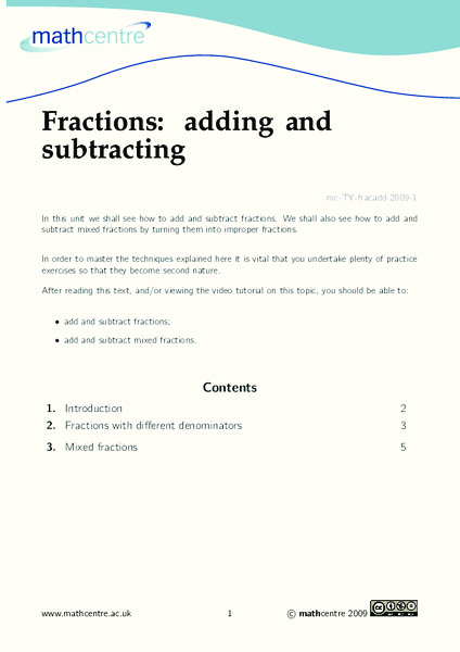 Fractions: Adding and Subtracting Worksheet