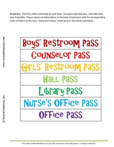 Classroom Passes Printables & Template
