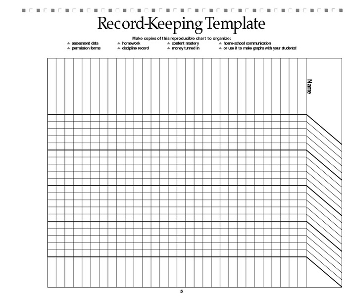 Record Keeping Template Printables & Template for Pre-K
