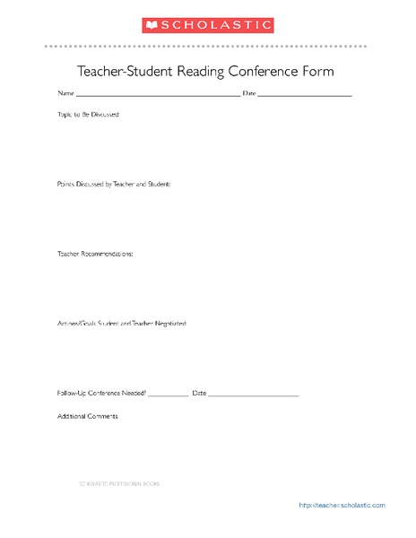Teacher-Student Reading Conference Form Printables & Template
