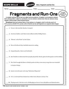 Run Ons Worksheet For 6th 9th Grade