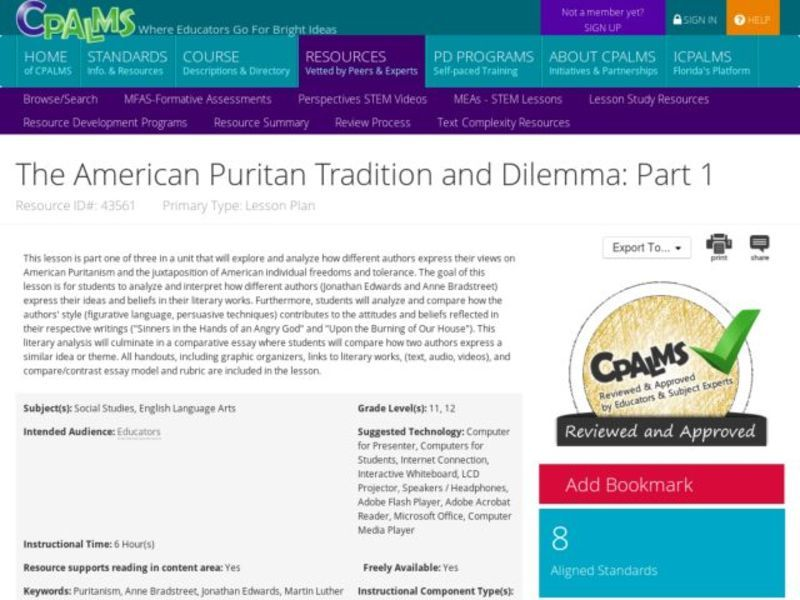 The American Puritan Tradition and Dilemma: Part I Lesson Plan