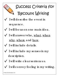 Success Criteria For Recount Writing Printables Template
