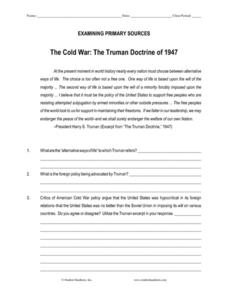 The Cold War: The Truman Doctrine of 1947 Worksheet