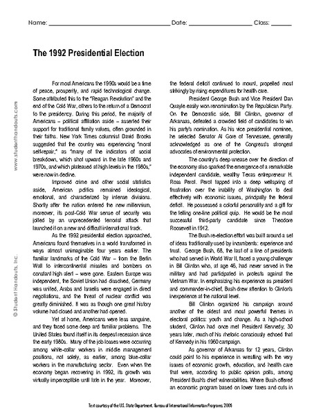 The 1992 Presidential Election Worksheet