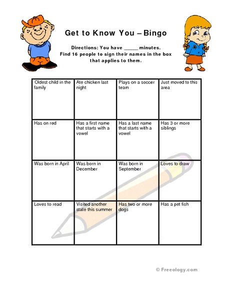 Get To Know You Bingo Worksheet For 3rd 8th Grade