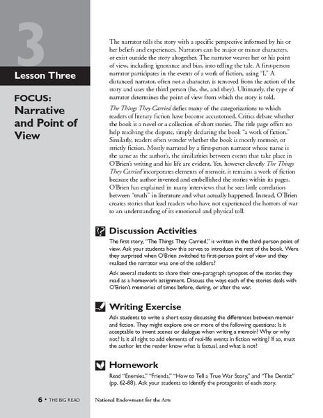 The Things They Carried: Narrative and Point of View Lesson Plan