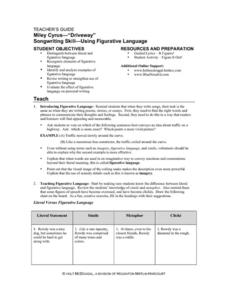 "Songwriting Skill - Using Figurative Language: Miley Cyrus - ""Driveway"" Lesson Plan"