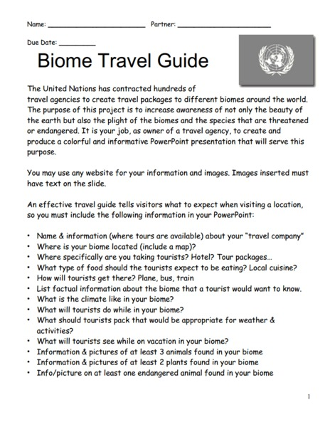 Biome Travel Guide Activities & Project