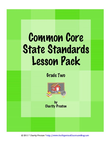 Common Core State Standards Lesson Pack: Grade Two Printables & Template