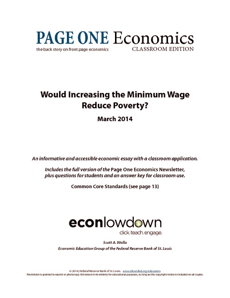 Would Increasing the Minimum Wage Reduce Poverty? Handouts & Reference