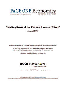 Making Sense of the Ups and Downs of Prices Worksheet