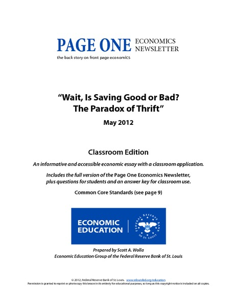 Wait, Is Saving Good or Bad? The Paradox of Thrift Handouts & Reference