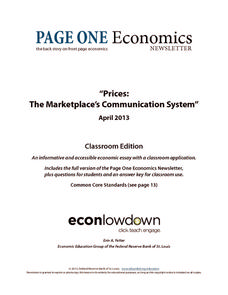 Prices: The Marketplace's Communication System Worksheet