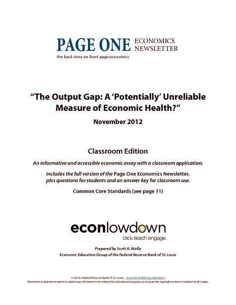 The Output Gap: A'Potentially' Unreliable Measure of Economic Health? Worksheet
