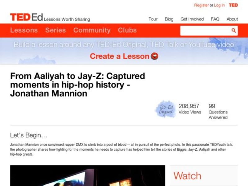 From Aaliyah to Jay-Z: Captured Moments in Hip-hop History Lesson Plan