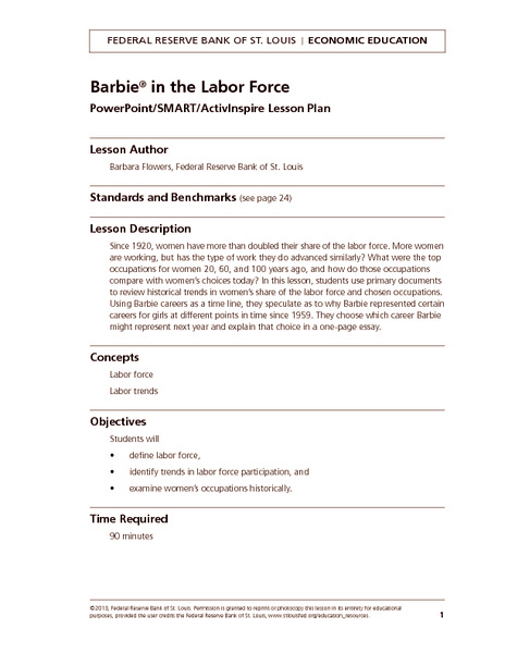 Barbie in the Labor Force Handouts & Reference