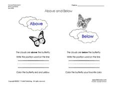 Above and Below Worksheet