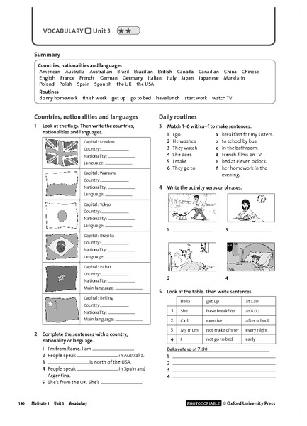 Vocabulary Unit 3.2: Countries and Nationalities, Routines 5th ...