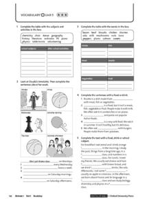 Vocabulary Unit 5.3: Hobbies and Activities, Food and Drink Worksheet