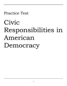 Practice Test: Civic Responsibilities in American Society Worksheet