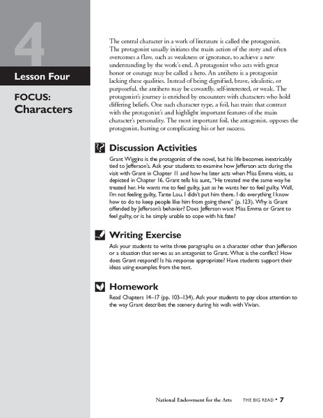 A Lesson Before Dying: Characters Lesson Plan