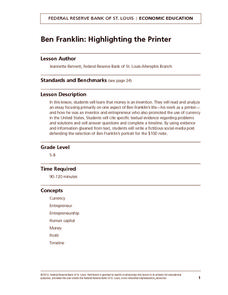 Ben Franklin: Highlighting the Printer Lesson Plan