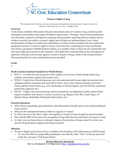 Women's Rights in Iraq Lesson Plan