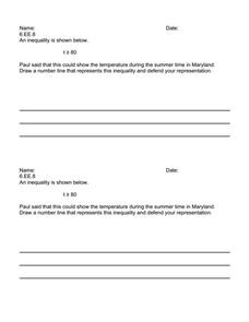 Writing Task 6.EE.8 Worksheet