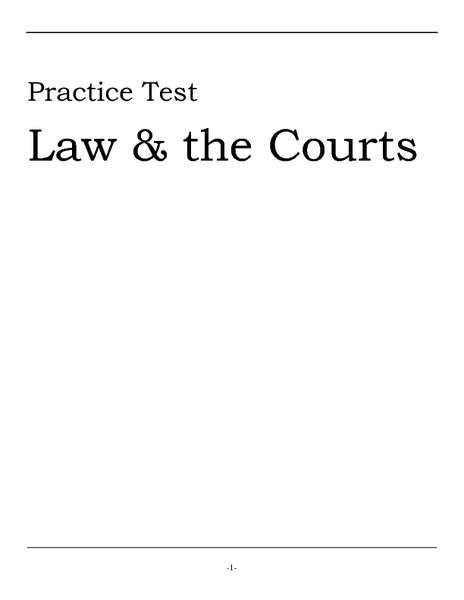 Practice Test: Law and the Courts Worksheet