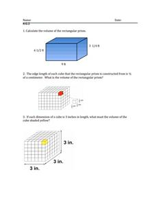 Five Question Quiz 6.G.2 Worksheet