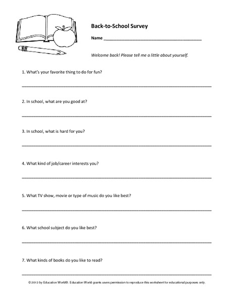 Back-to-School Survey Printables & Template