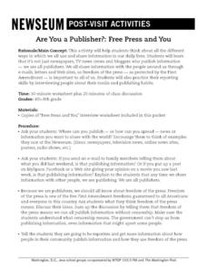 Are You a Publisher?: Free Press and You Lesson Plan