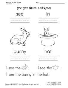 Bunny See, Say, Write and Read! Worksheet