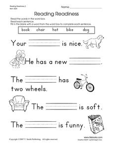 Reading Readiness 2 Worksheet