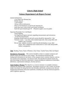 Science Department Lab Report Format Handouts & Reference