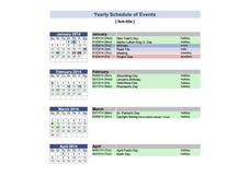 Yearly Schedule of Events Printables & Template